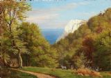 Aagaard, Carl Frederic: Summer day at Møens Klint, Denmark. Scenic Fine Art Print/Poster. Sizes: A4/A3/A2/A1 (003156)